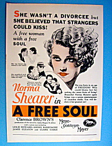 Vintage Ad: 1931 A Free Soul W/ Norma Shearer