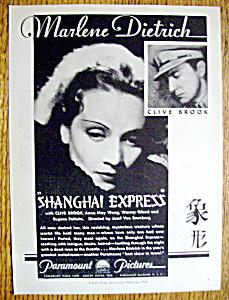 Vintage Ad: 1932 Shanghai Express w/ Marlene Dietrich (Image1)