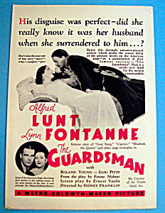 Vintage Ad: 1931 The Guardsman W/ Lynn Fontaine