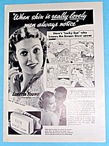 Vintage Ad: 1936 Lux Toilet Soap W/ Loretta Young