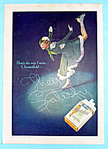 1935 Chesterfield Cigarettes w/ Woman Ice Skating (Image1)
