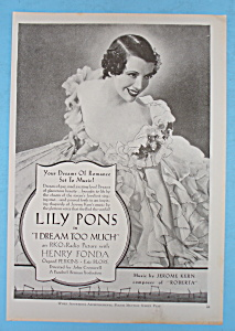Vintage Ad: 1935 I Dream Too Much W/ Lily Pons