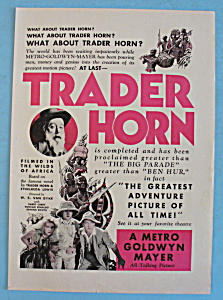 Vintage Ad: 1931 Trader Horn W/ Harry Carey