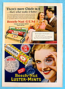 1932 Beech-nut Gum & Luster-mints W/ Woman's Face