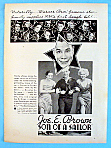 Vintage Ad: 1933 Son Of A Sailor W/ Joe E. Brown