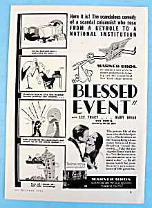 Vintage Ad: 1932 Blessed Event W/ L. Tracy And M. Brian
