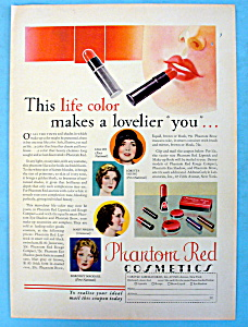 Vintage Ad: 1931 Phantom Red Cosmetics W/ Mary Philbin