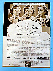 Vintage Ad: 1934 Max Factor Make Up With/ Ann Dvorak