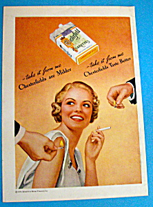 1935 Chesterfield Cigarettes with Woman & Two Men (Image1)