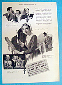 Vintage Ad: 1936 Maid Of Salem With Claudette Colbert