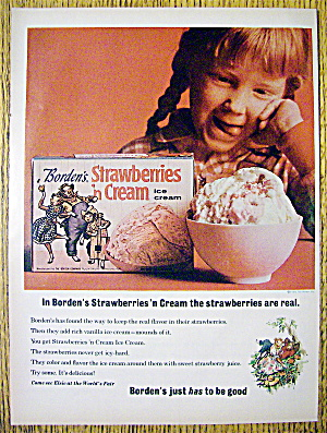 1964 Borden's Strawberries & Cream Ice Cream With Girl