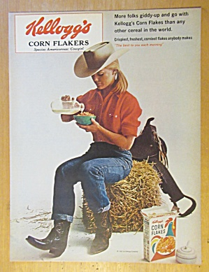 1965 Kellogg's Corn Flakes w/Cow Girl & Bowl of Cereal (Image1)