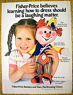 1984 Fisher Price Buttons & Toes Dressing Clown W/ Girl