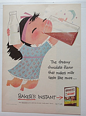 1956 Baker's Instant Chocolate Mix with Girl & Milk  (Image1)