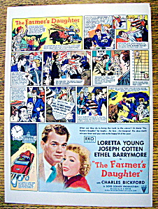 Vintage Ad: 1947 The Farmer's Daughter w/ Loretta Young (Image1)