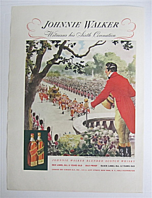 1937 Johnnie Walker Whiskey With His Sixth Coronation