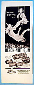 1937 Beech Nut Gum With Trapeze Artists