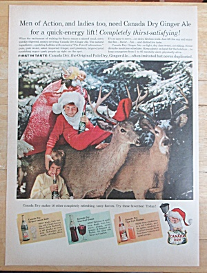 1957 Canada Dry Ginger Ale with Children & Reindeer  (Image1)