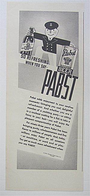 1937 Pabst Export Beer w/Sailor Holding A Bottle & Can (Image1)