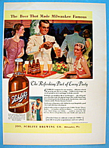 1937 Schlitz Beer with Man Pouring Bottle Of Beer (Image1)