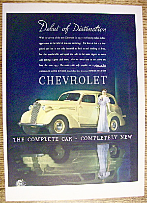1937 Chevrolet With Lovely Woman Standing By Chevrolet