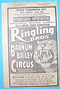 Vintage Ad: 1961 Ringling Bros & Barnum & Bailey (Image1)
