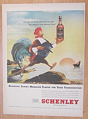 1946 Schenley Whiskey With Rooster Carrying Bottle