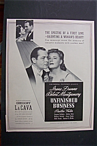 Vintage Ad:1941 Unfinished Business W/robert Montgomery