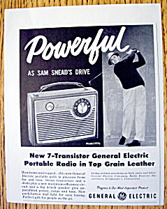 Vintage Ad: 1959 G.E. Portable Radio w/ Sam Snead (Image1)