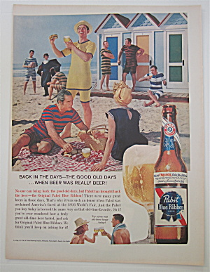 1960 Pabst Blue Ribbon Beer with Man on the Beach  (Image1)