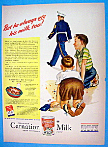 1944 Carnation Milk With Two Boys Watching Soldier