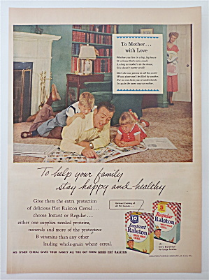 1953 Instant Ralston Whole Wheat Cereal With Dad & Kids