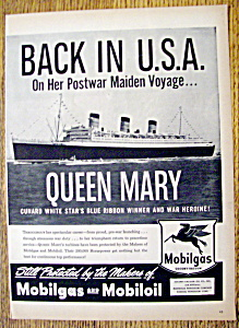 Vintage Ad: 1947 Mobilgas & Mobiloil W/ Queen Mary