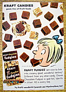 1959 Kraft Chocolate Fudgies With Girl Eating Fudgies