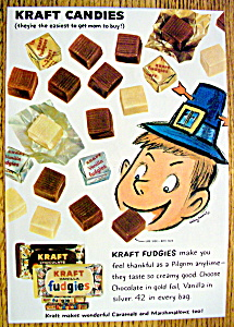 1959 Kraft Chocolate Fudgies With Boy Eating Fudgies