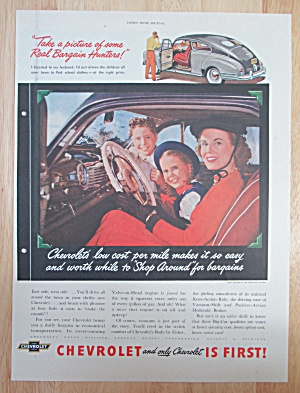 1948 Chevrolet Automobile With Woman & Children In Car