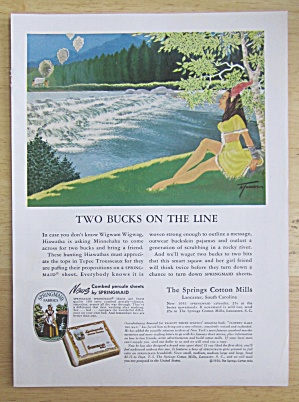 1951 Springmaid Sheets with Two Bucks on the Line  (Image1)