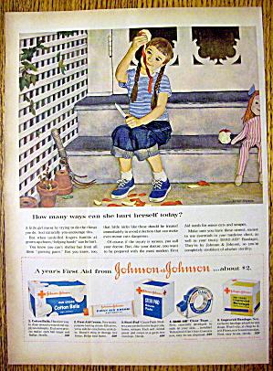 1959 Johnson & Johnson with Girl & Apple By John Falter (Image1)