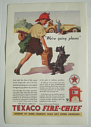 1934 Texaco Fire Chief Gasoline With Boy & His Dog