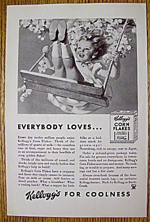 1934 Kellogg's Corn Flakes Cereal With Girl On A Swing
