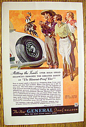 1934 General Tire With Cowboy Man Riding On Horse