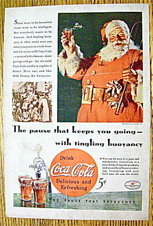 1934 Coca Cola (Coke) with Santa Claus Holding Glass (Image1)