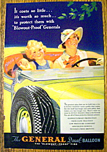 1935 General Tires With Woman & Child In Car Driving