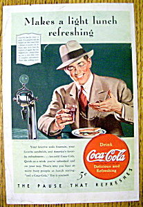 1940 Coca Cola (Coke) With Man Looking At Pocket Watch