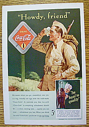 1942 Coca Cola (Coke) With Soldier Wiping His Forehead