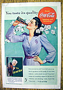 1942 Coca Cola (Coke) With Woman Drinking A Soda