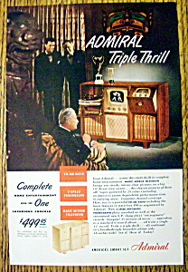 1948 Admiral Triple Thrill W/a Two Speed Phonograph