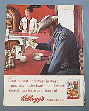 1964 Kellogg's Corn Flakes With Cowboy Pouring Cereal