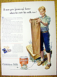 1942 Carnation Evaporated Milk With Boy Smiling