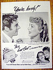 Vintage Ad: 1949 Lux Soap with Elizabeth Taylor (Image1)